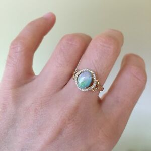 100-Natural-Australia-Solid-Opal-9k-Gold-Ring-W-0-128ct-Round-Diamond-2-33G
