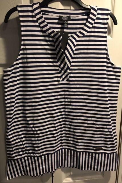 c2d4f62591b1e Jones New York Signature navy and white striped knit shell tank Size Large  SOFT