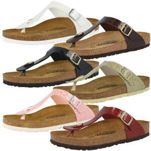 classic fit c50e8 40a28 Details zu Birkenstock Gizeh Birko-Flor Damen Zehentrenner Magic Snake  Sandalen Steg Schuhe