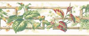 Wallpaper-Border-Green-Red-Yellow-Leaf-Vine-on-Bamboo-Key-Trellis-Beige-Trim