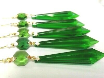 5 Caribbean Green 80mm Icicle Chandelier Crystals Prisms Pendants