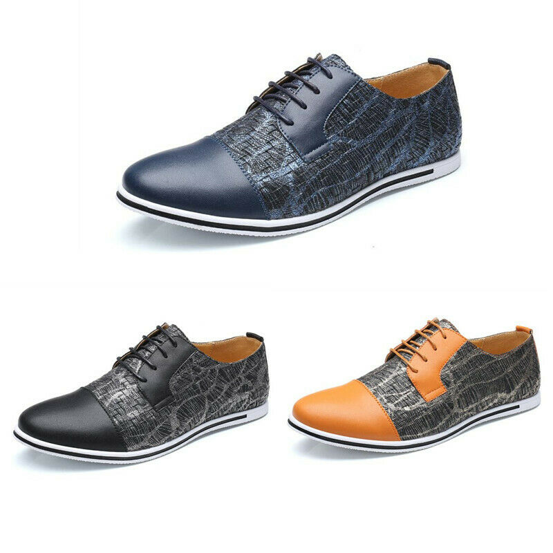 Mens Pumps Pointy Toe Lace Up Assorted colors Flat Heel Casual Sport shoes New