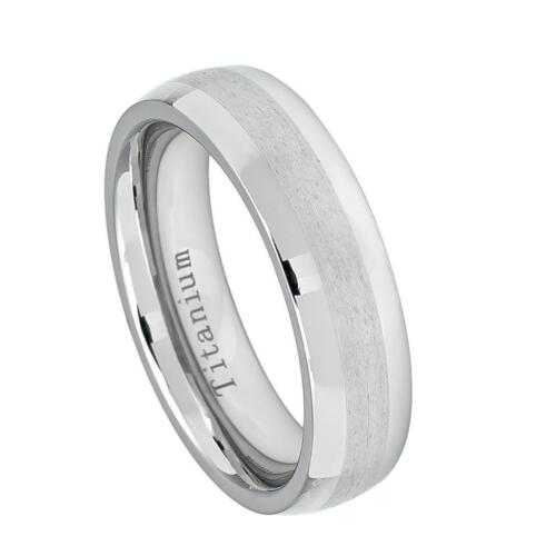 White Titanium Wedding Band Ring 6MM High Polished with Brushed Center Size 5-12