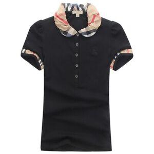 NWT-Burberry-Lace-Collar-Design-Polo-Shirt-Women-Shirts-Black-S-M-L-XL-2XL