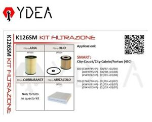 Filter Kit Intelligent City Coupe City Cabrio Fortwo 450 600 97>04 - Ydea K126SM