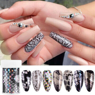 Snakeskin Holographic Nail Foils Nail Art Transfer Sticker Paper Nail Decoration Ebay