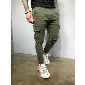Mens Slim Fit Cargo Trousers Slacks Harem Pants Multi-pocket Tapered Outdoor New