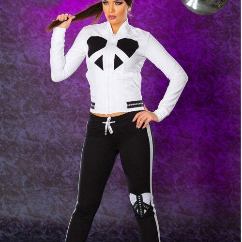 Ocassion 2-Teiler Damenjacke Röhrenhose Anzug Schwarz-Weiß Sportse XS-M