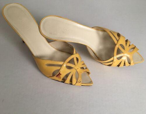 Gucci Women's Yellow Patent Leather Peep Toe Mule… - image 1
