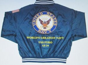 USS PYRO  AE-24  NAVY ANCHOR EMBROIDERED 2-SIDED SATIN JACKET