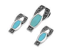 Turquoise Marcasite Set Sterling Silver 925 Earrings & Pendant Jewelry 3 pcs