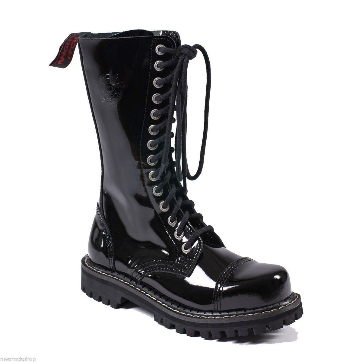 Angry Itch Patent 14 Hole Punk Negro Patent Itch Leather Army Ranger botas Steel Toe Zip f9f19f