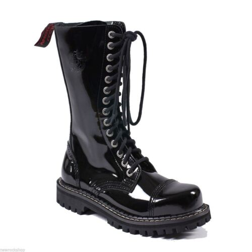 Angry Itch 14 Hole Punk Black Patent Leather Army Ranger Boots Steel Toe Zip