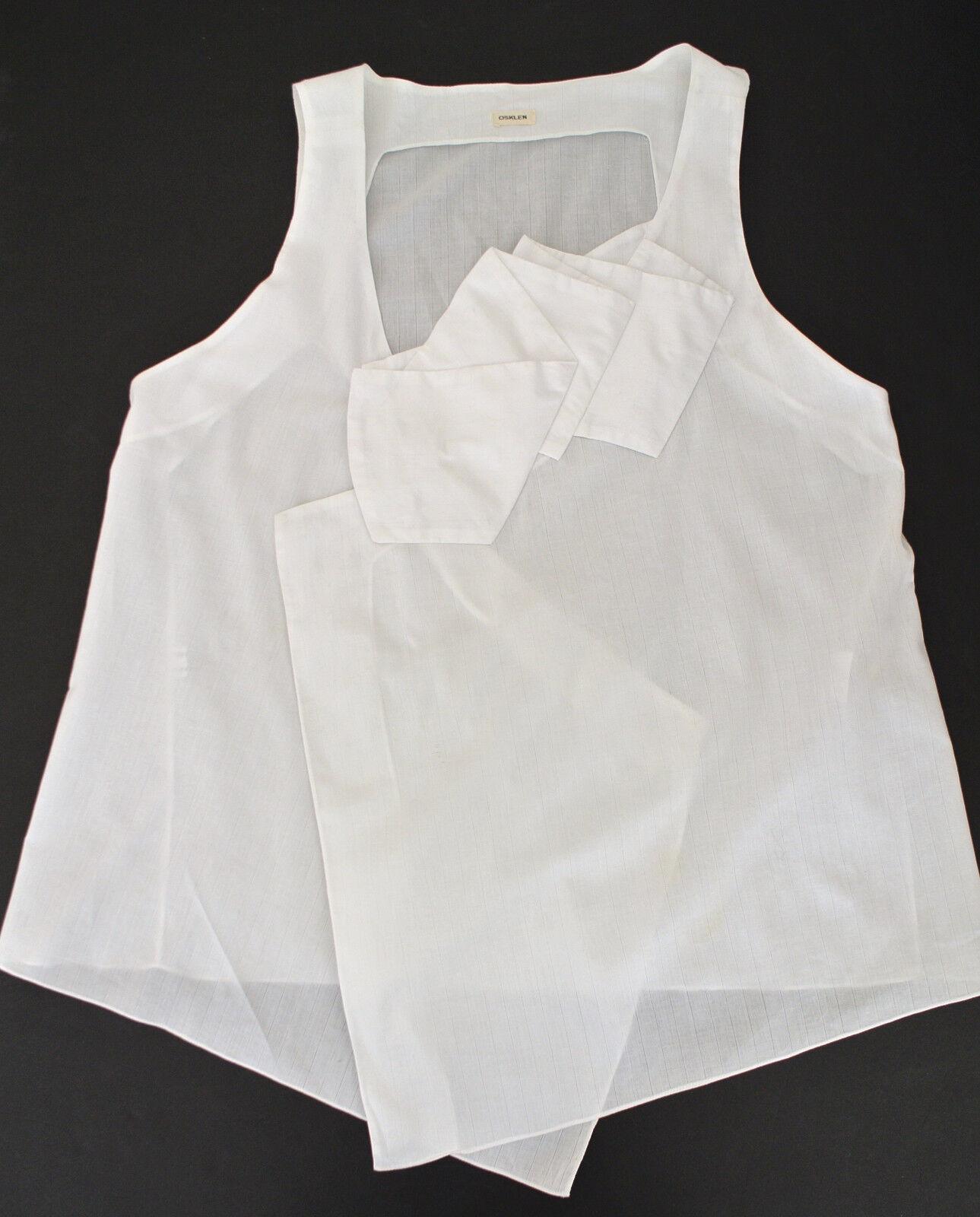 OSKLEN white pleated ruffle asymmetric top sz G L sleeveless