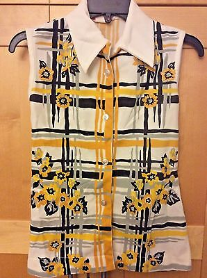 Vintage 60's Mod Women's Yellow & Black Floral Sleeveless Shirt Blouse 32 S