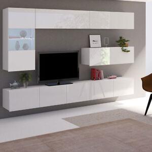 Das Bild Wird Geladen Moderne Wohnwand  Calabrini IV Hochglanz Schwarz Wohnzimmer Set