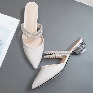 Womens-Fashion-Leather-Pointy-Toe-Pearls-Strap-Block-Low-Heels-Mules-Slippers