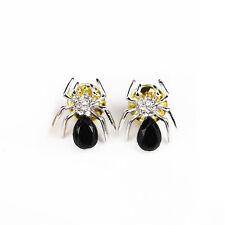 Black Rhinestone Crystal Spider Lapel Tie Collar Pin Brooch Fashion Jewelery