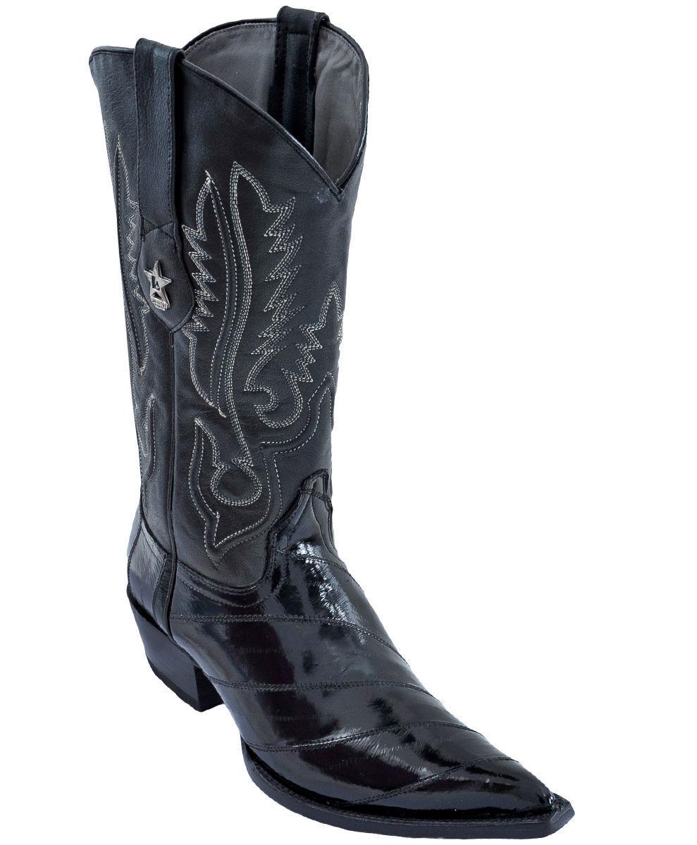 LOS ALTOS Hombre Negro 3X-TOE Original Bota de vaquero occidental eel Skin (D) 95DV0805
