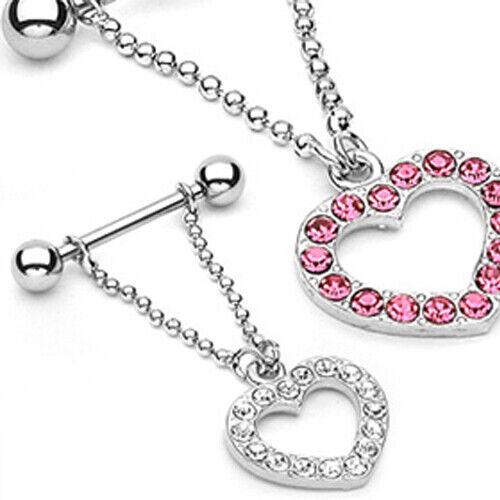 Pecho piercing vara con corazón remolques y muchos cristales pecho joyas de acero