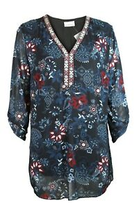 C-amp-A-Womens-Dark-Charcoal-Floral-Print-Embroidered-V-Neck-Long-Line-Tunic-Top