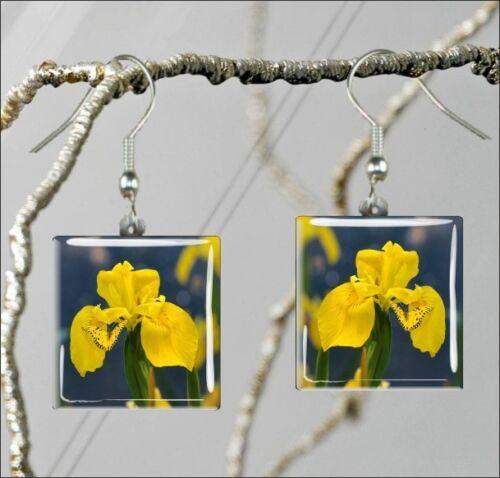 fty2Z FLOWER YELLOW IRIS SQUARE PENDANTS NECKLACE EARRINGS