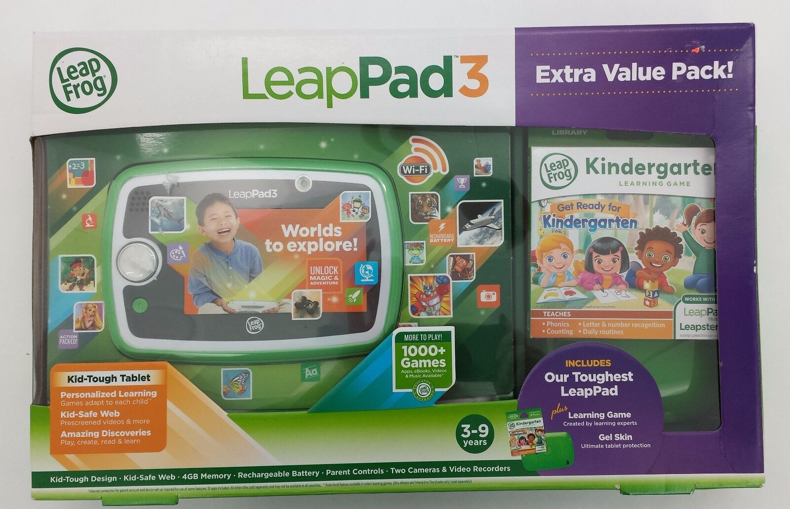 LeapFrog LeapPad3 Extra Value Pack 3-9 years  Green with Letter Factory (LP04)