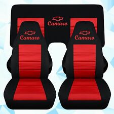 "Chevy Camaro car seat covers blk-red w/ ""CAMARO""front and a 3 piece rear benc3"