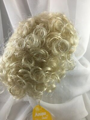 "10//11"" Bouncy Curls Blonde Doll Wig Reborn OOAK BJD Bisque Repair DOTTIE"