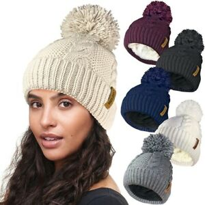 Womens Ladies DETACHABLE POM Fur Knitted Sherpa Fleece Lined Thermal Bobble Hat