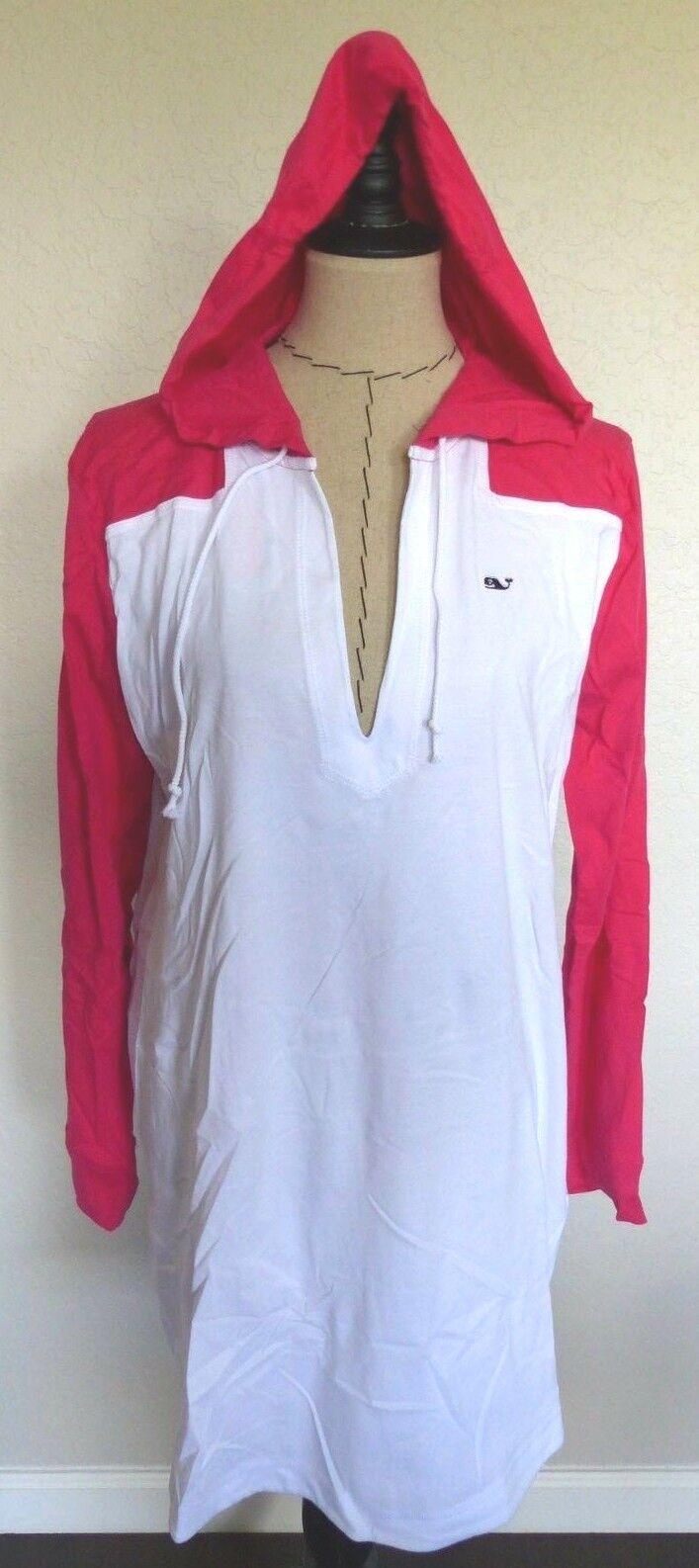 VINEYARD VINES Women's Long Sleeve Hoodie Tee DRESS  Size LG Pink White NWT