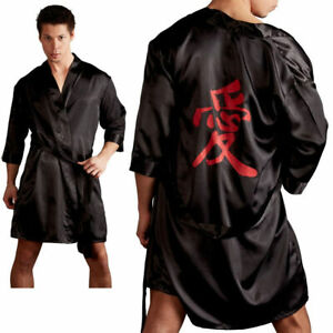 bc9bbf69340f0f Das Bild wird geladen Herren-Kimono-schwarz-Satin-Glanz-Asia-Japan- Morgenmantel-