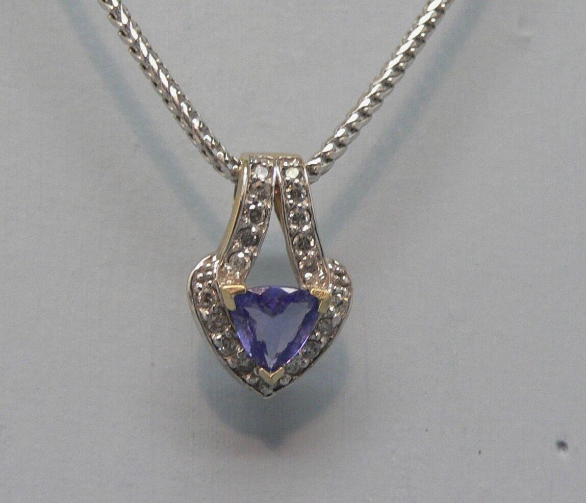 Stunning 14k White gold Tanzanite & Diamond Pendant & 18K White gold Chain