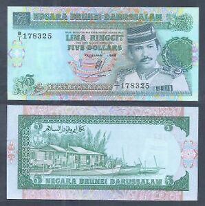 Brunei-5-Banknote-1989-1st-Prefix-Gem-UNC-5-1989-B-1-178325-Rare