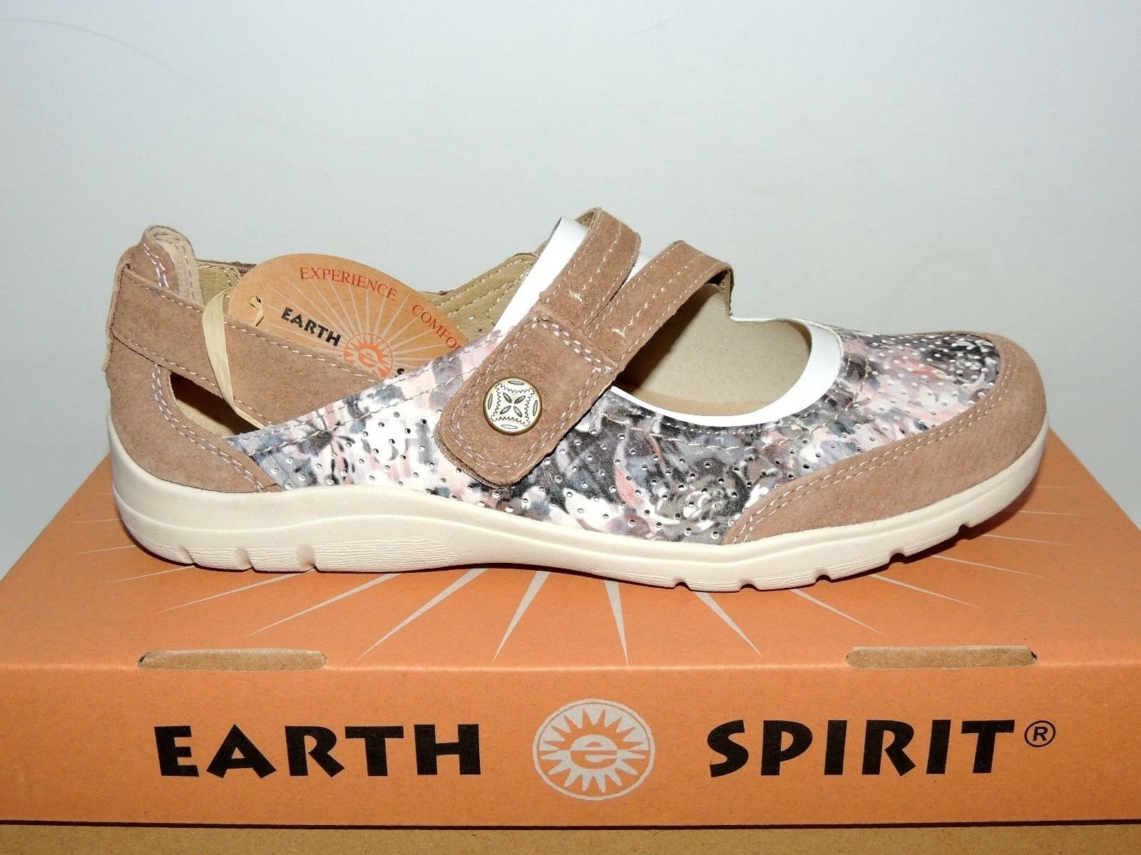 EARTH SPIRIT 'MARYLAND' MOLASSES FLORAL SHOES WITH RIP TAPE FASTENING. BNIB