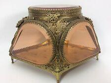 Large Vintage Ormolu Amber Beveled Glass Panel Casket Vanity Jewelry Box