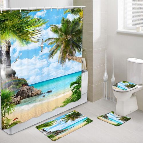 Tropical Beach Sea Palm Trees Fabric Shower Curtain Toilet Cover Rugs Bath Mat