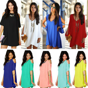 Plus-Size-Women-Cold-Shoulder-Chiffon-Dress-Summer-Casual-Party-Baggy-Blouse-Top