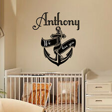 Wall Decals Personalized Name Vinyl Stickers Anchor Boy Nautical Nursery Art LM5