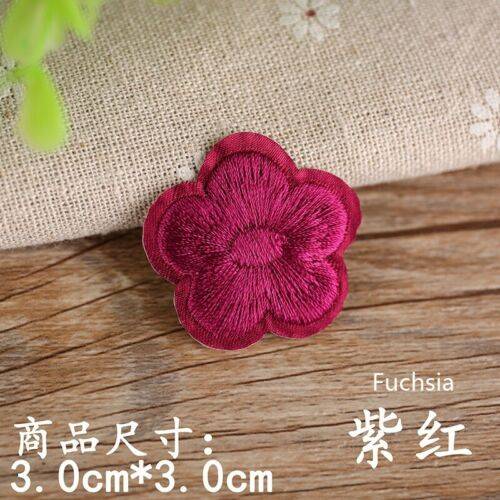 50x Embroidered Flower Applique Plum Blossom Iron Sew On Cloth Patch Decor Craft