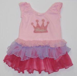 1145e8e05 Image is loading Popatu-Princess-Crown-Layered-Tulle-Pink-Bodysuit-Tutu-
