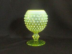 Fenton-Hobnail-Topaz-Opalescent-Vaseline-Glass-Pedestal-Footed-Vase-Rose-Bowl