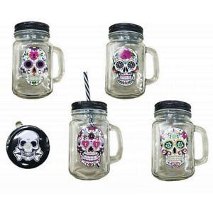 1 Mason Jar Tete De Mort Mexicain Bocal Verre Bouchon Paille Mug Jus De Fruit Pour Assurer Une Transmission En Douceur