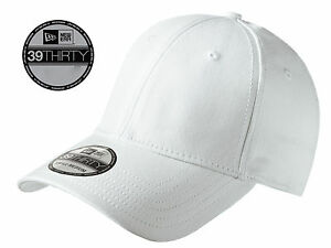 dcacca06 Details about New Era 39Thirty Blank Stretch Cotton fitted White Hat/Cap  NE1000 -Free Shipping