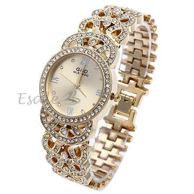 Amazing Crystal Dial Gold Women Girls Steel Bracelet Quartz Wrist Watch Luxury