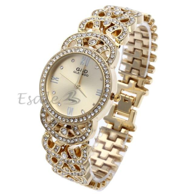 Amazing Crystal Dial Gold Women Girls Steel Bracelet Quartz Wrist Watch Luxury