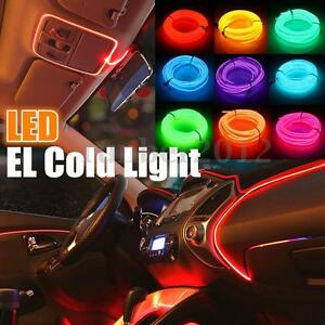 1/3/5M Flexible EL Wire LED Cold Light Neon Glow Strip Lamp Car ...
