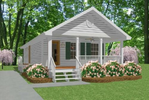 Custom Tiny House Home Plans Narrow 1 bed cottage 800 sf-- PDF file