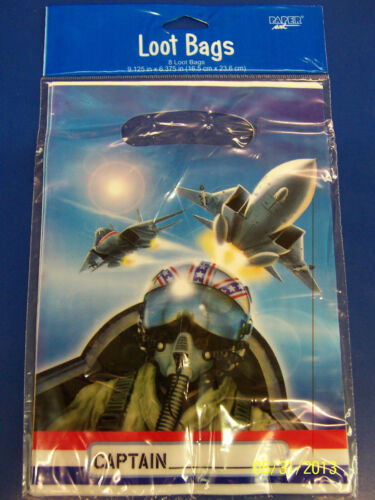 Fighter Pilot Planes Air Force Kids Birthday Party Favor Sacks Treat Loot Bags *