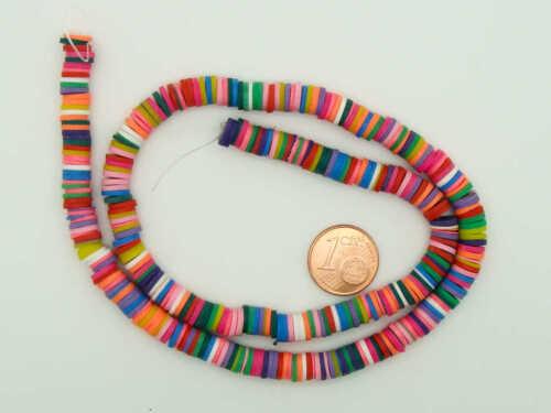 Fil 380 environ perles rondelles 6mm multicolores pâte polymère DIY bijoux